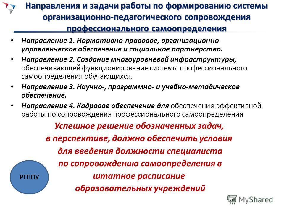 Направления и задачи работы по формированию системы организационно-педагогического сопровождения профессионального самоопределения Направление 1. Нормативно-правовое, организационно- управленческое обеспечение и социальное партнерство. Направление 2.