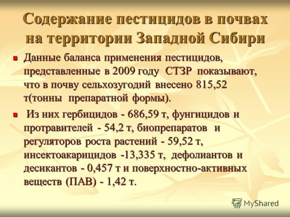 Содержание пестицидов в почвах на территории Западной Сибири Данные баланса применения пестицидов, представленные в 2009 году СТЗР показывают, что в почву сельхозугодий внесено 815,52 т(тонны препаратной формы). Данные баланса применения пестицидов,