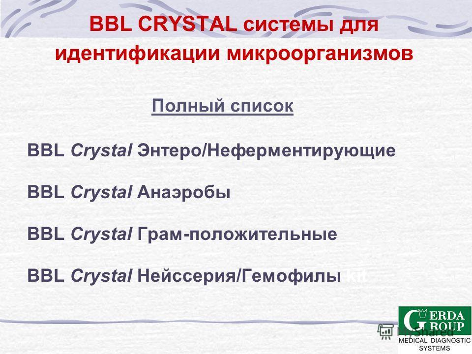 BBL CRYSTAL ТЕХНОЛОГИЯ Описание Панели BBL Crystal для идентификации представляют собой миниатюрные тест- системы, содержащий 29 или 30 флюорогенных и хромогенных субстратов для определения более 400 видов и более 120 родов клинически значимых микроо