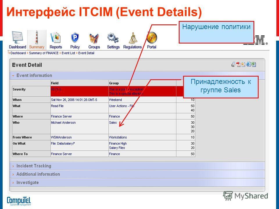 Интерфейс ITCIM (Event Details) Нарушение политики Принадлежность к группе Sales