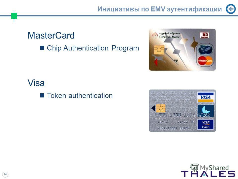 14 Инициативы по EMV аутентификации MasterCard Chip Authentication Program Visa Token authentication