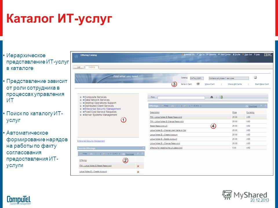 Иерархическое представление ИТ-услуг в каталоге Представление зависит от роли сотрудника в процессах управления ИТ Поиск по каталогу ИТ- услуг Автоматическое формирование нарядов на работы по факту согласования предоставления ИТ- услуги Каталог ИТ-ус
