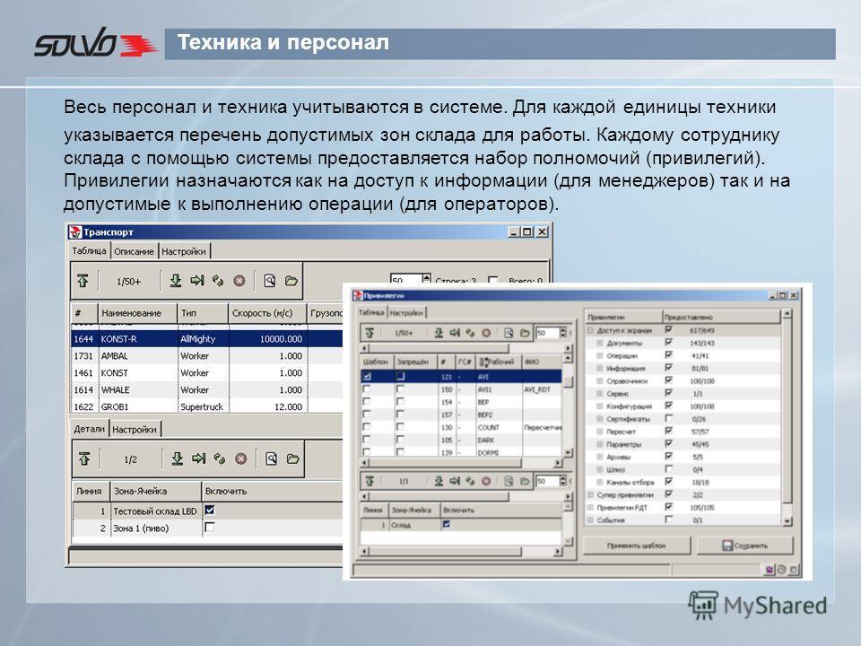 Техника и персонал Весь персонал и техника учитываются в системе. Для каждой единицы техники указывается перечень допустимых зон склада для работы. Каждому сотруднику склада с помощью системы предоставляется набор полномочий (привилегий). Привилегии