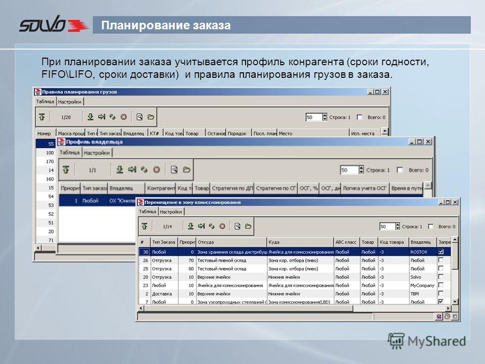 Планирование заказа При планировании заказа учитывается профиль конрагента (сроки годности, FIFO\LIFO, сроки доставки) и правила планирования грузов в заказа.