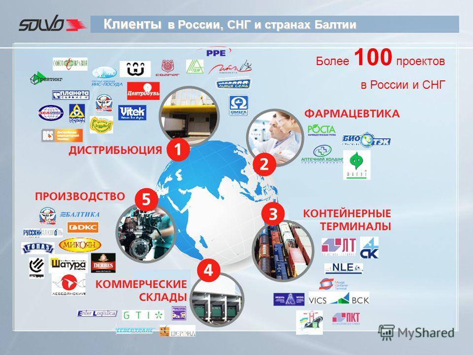 Клиенты в России, СНГ и странах Балтии Более 100 проектов в России и СНГ