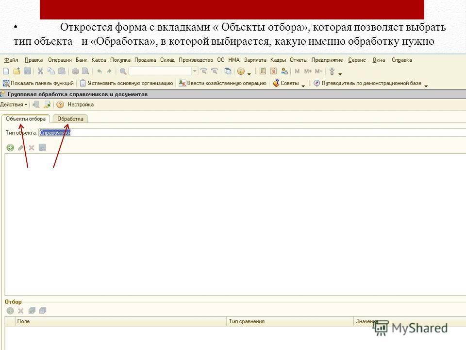 Откроется форма с вкладками « Объекты отбора», которая позволяет выбрать тип объекта и «Обработка», в которой выбирается, какую именно обработку нужно произвести.