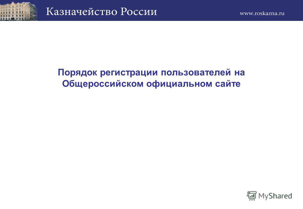 Порядок регистрации пользователей на Общероссийском официальном сайте