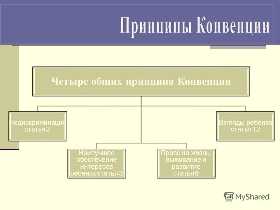 Четыре общих принципа Конвенции Недискриминация статья 2 Наилучшее обеспечение интересов ребенка статья 3 Право на жизнь, выживание и развитие статья 6 Взгляды ребенка статья 12