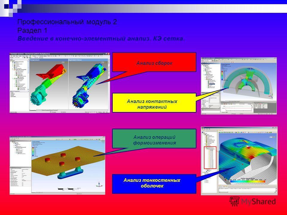 Профессиональный модуль 2 Раздел 1 Введение в конечно-элементный анализ. КЭ сетка. Анализ сборок Анализ контактных напряжений Анализ операций формоизменения Анализ тонкостенных оболочек