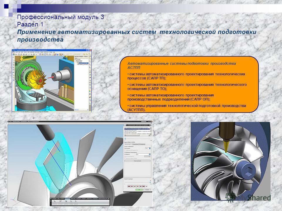 Профессиональный модуль 3 Раздел 1 Применение автоматизированных систем технологической подготовки производства Автоматизированные системы подготовки производства АСТПП системы автоматизированного проектирования технологических процессов (САПР ТП); с