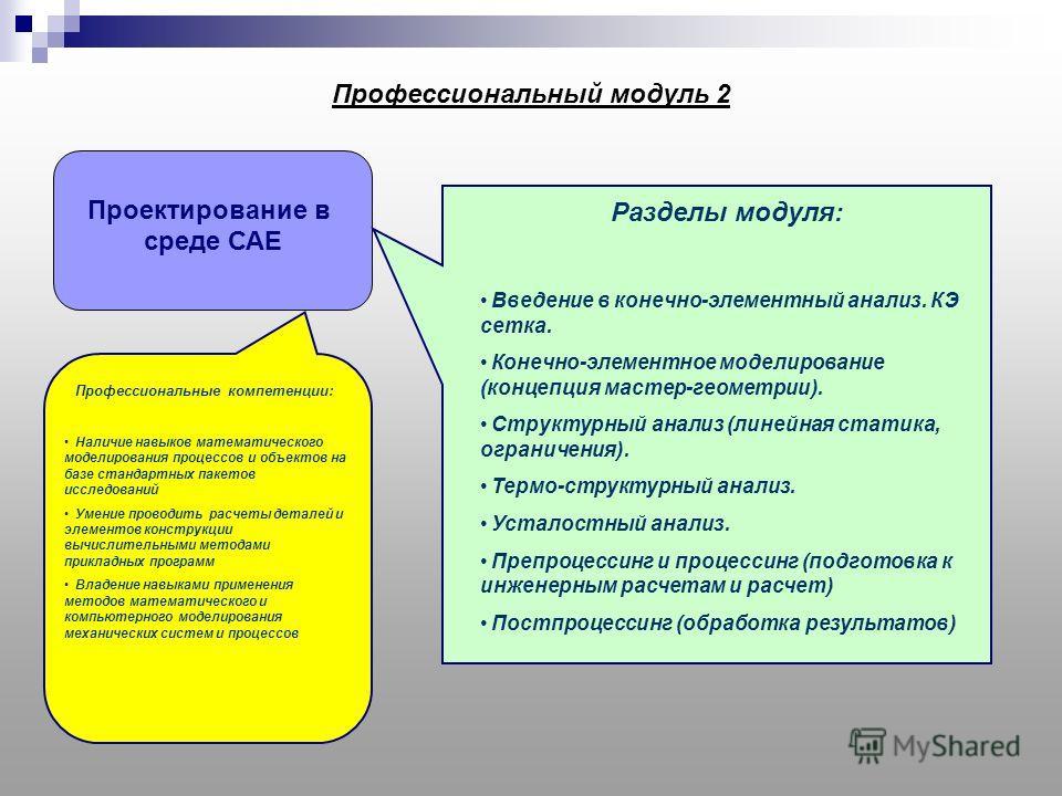 Профессиональный модуль 2 Проектирование в среде САЕ Разделы модуля: Введение в конечно-элементный анализ. КЭ сетка. Конечно-элементное моделирование (концепция мастер-геометрии). Структурный анализ (линейная статика, ограничения). Термо-структурный