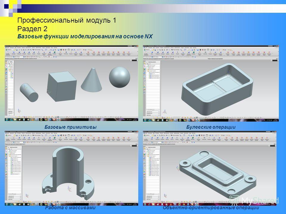 Профессиональный модуль 1 Раздел 2 Базовые функции моделирования на основе NX Базовые примитивыБулевские операции Объектно-ориентированные операцииРабота с массивами