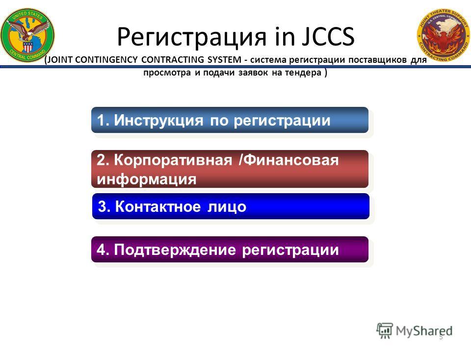 Регистрация in JCCS (JOINT CONTINGENCY CONTRACTING SYSTEM - система регистрации поставщиков для просмотра и подачи заявок на тендера ) 1. Инструкция по регистрации 2. Корпоративная /Финансовая информация 2. Корпоративная /Финансовая информация 3. Кон
