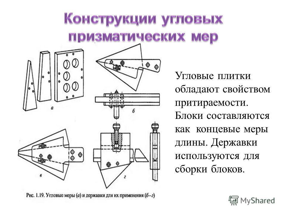 Угловые плитки обладают свойством притираемости. Блоки составляются как концевые меры длины. Державки используются для сборки блоков.