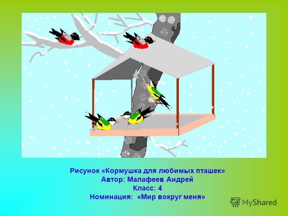 Рисунок «Кормушка для любимых пташек» Автор: Малафеев Андрей Класс: 4 Номинация: «Мир вокруг меня»