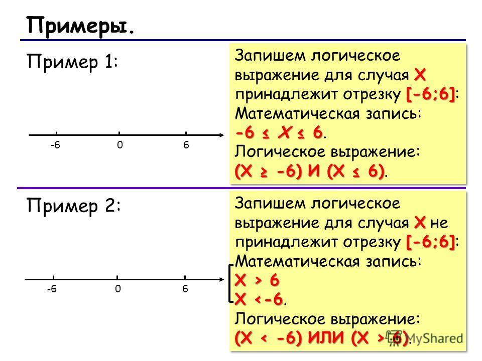 Пример 1: X [-6;6] Запишем логическое выражение для случая X принадлежит отрезку [-6;6]: Математическая запись: -6 Х 6 -6 Х 6. Логическое выражение: (Х -6) И (Х 6) (Х -6) И (Х 6). X [-6;6] Запишем логическое выражение для случая X принадлежит отрезку
