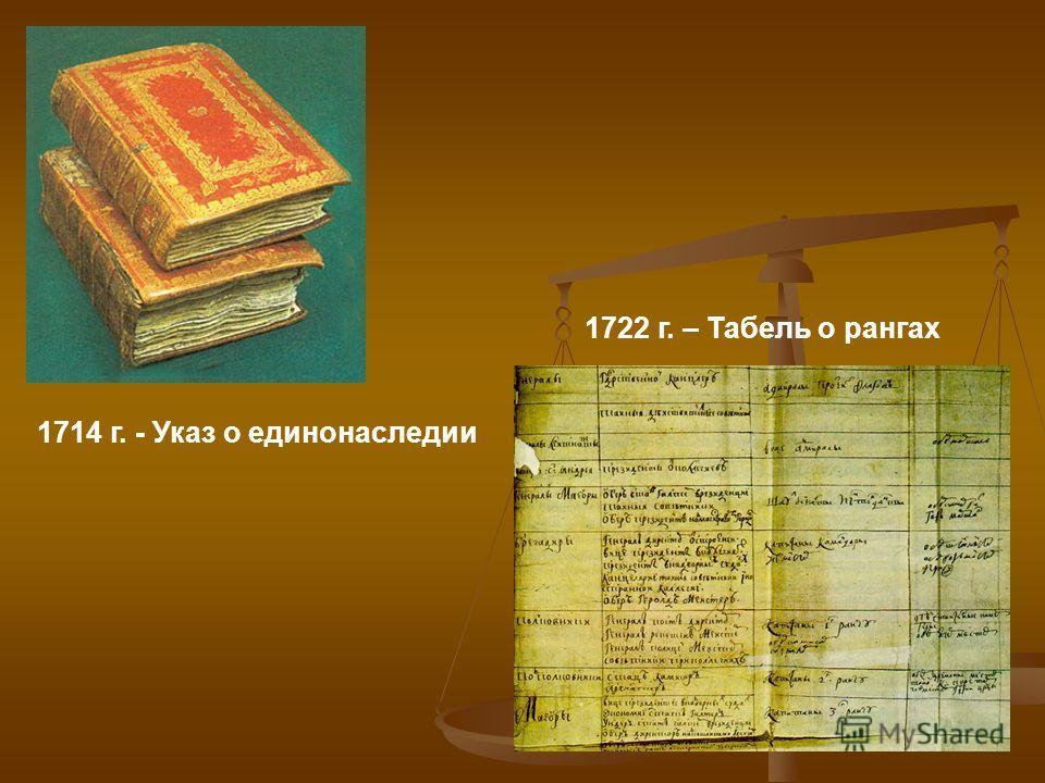 1714 г. - Указ о единонаследии 1722 г. – Табель о рангах