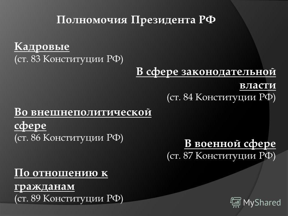 Полномочия Президента РФ Кадровые (ст. 83 Конституции РФ) В сфере законодательной власти (ст. 84 Конституции РФ) Во внешнеполитической сфере (ст. 86 Конституции РФ) В военной сфере (ст. 87 Конституции РФ) По отношению к гражданам (ст. 89 Конституции