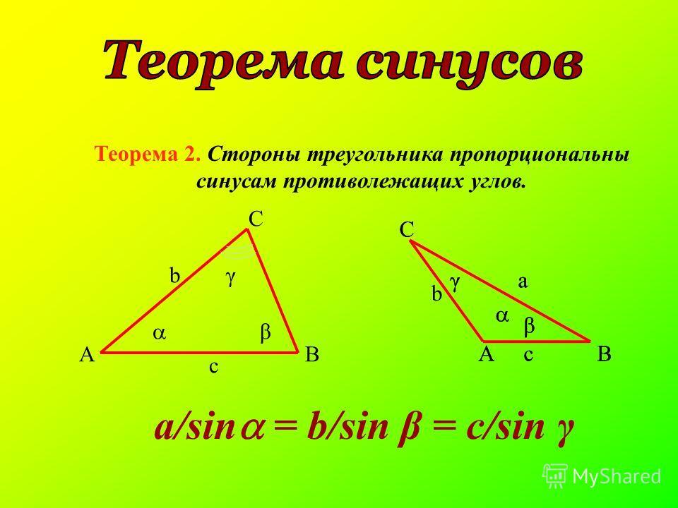 Теорема 2. Стороны треугольника пропорциональны синусам противолежащих углов. AB C b c β γ AB C a c β γ AB C a c β γ b a/sin = b/sin β = c/sin γ