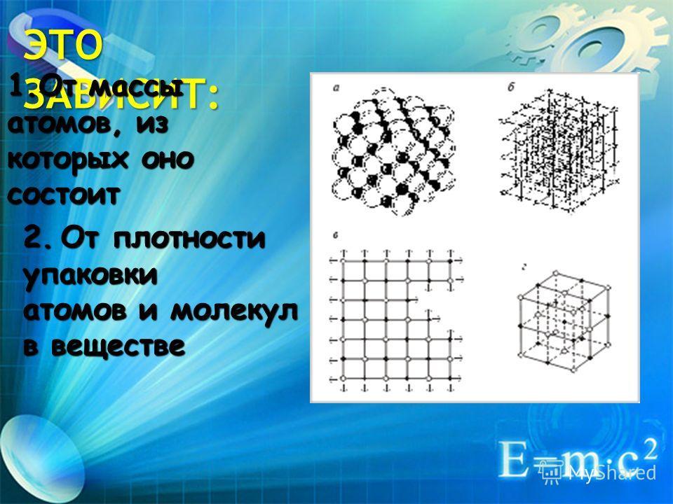 2.От плотности упаковки атомов и молекул в веществе ЭТО ЗАВИСИТ: 1.От массы атомов, из которых оно состоит
