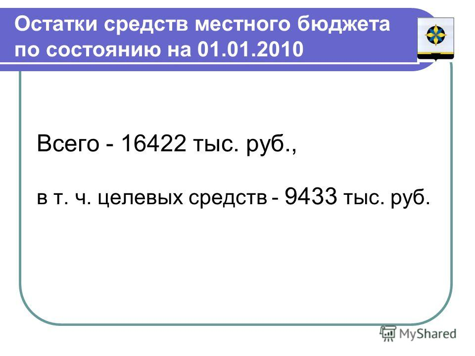 Остатки средств местного бюджета по состоянию на 01.01.2010 Всего - 16422 тыс. руб., в т. ч. целевых средств - 9433 тыс. руб.