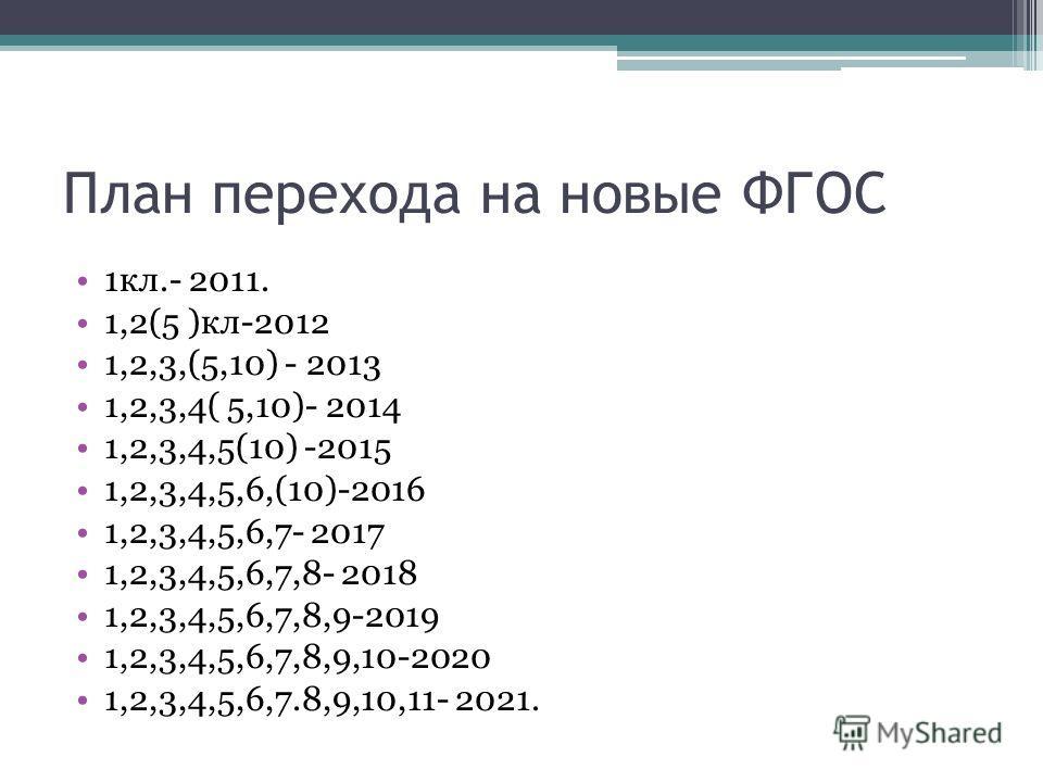 План перехода на новые ФГОС 1кл.- 2011. 1,2(5 )кл-2012 1,2,3,(5,10) - 2013 1,2,3,4( 5,10)- 2014 1,2,3,4,5(10) -2015 1,2,3,4,5,6,(10)-2016 1,2,3,4,5,6,7- 2017 1,2,3,4,5,6,7,8- 2018 1,2,3,4,5,6,7,8,9-2019 1,2,3,4,5,6,7,8,9,10-2020 1,2,3,4,5,6,7.8,9,10,