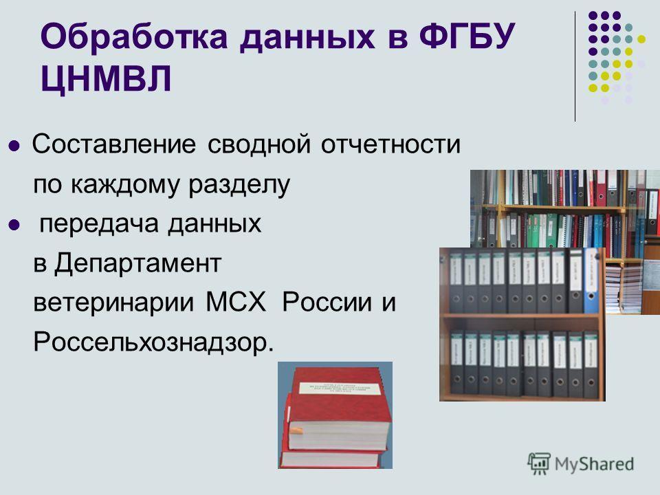 Обработка данных в ФГБУ ЦНМВЛ Составление сводной отчетности по каждому разделу передача данных в Департамент ветеринарии МСХ России и Россельхознадзор.