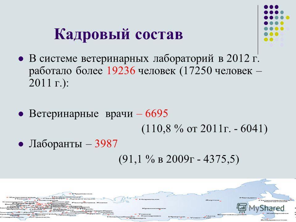 Кадровый состав В системе ветеринарных лабораторий в 2012 г. работало более 19236 человек (17250 человек – 2011 г.): Ветеринарные врачи – 6695 (110,8 % от 2011г. - 6041) Лаборанты – 3987 (91,1 % в 2009г - 4375,5)