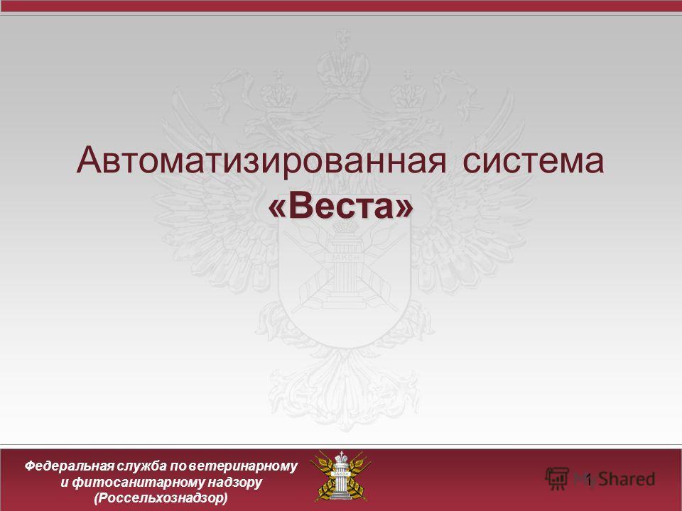 Федеральная служба по ветеринарному и фитосанитарному надзору (Россельхознадзор) 1 «Веста» Автоматизированная система «Веста»