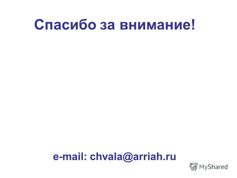 Спасибо за внимание! e-mail: chvala@arriah.ru
