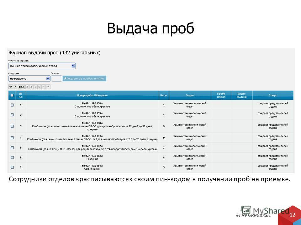ФГБУ «ВНИИЗЖ» 12 Выдача проб Сотрудники отделов «расписываются» своим пин-кодом в получении проб на приемке.