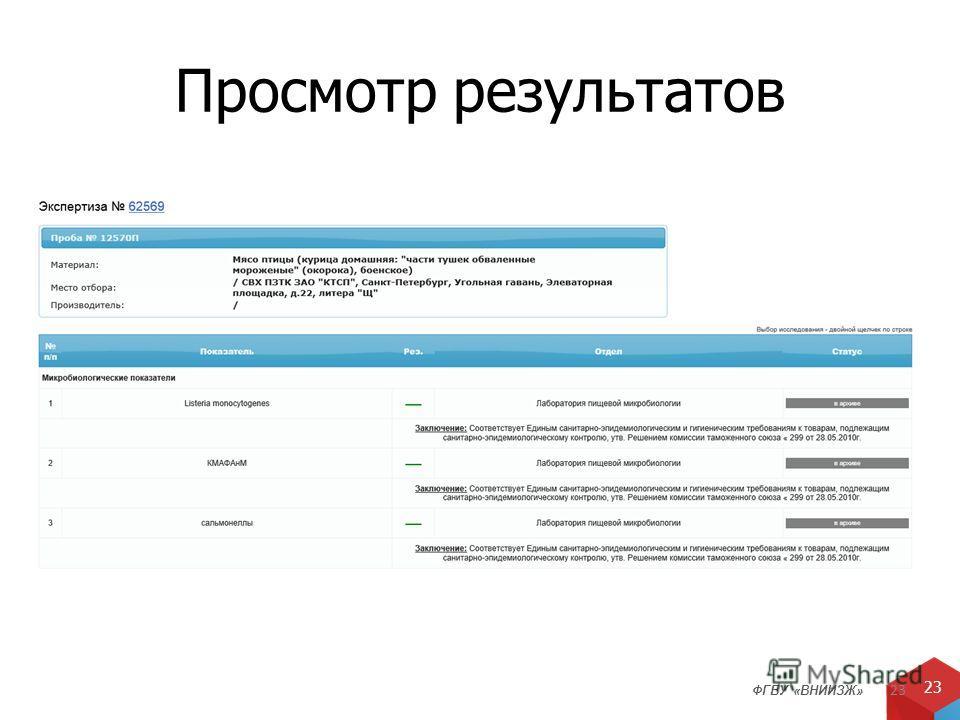ФГБУ «ВНИИЗЖ» 23 Просмотр результатов 23