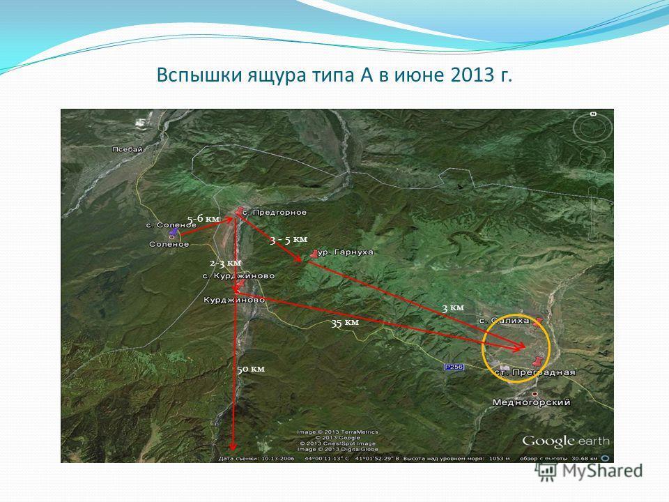 Вспышки ящура типа А в июне 2013 г. 3 км 3 - 5 км 35 км 5-6 км 50 км 2-3 км