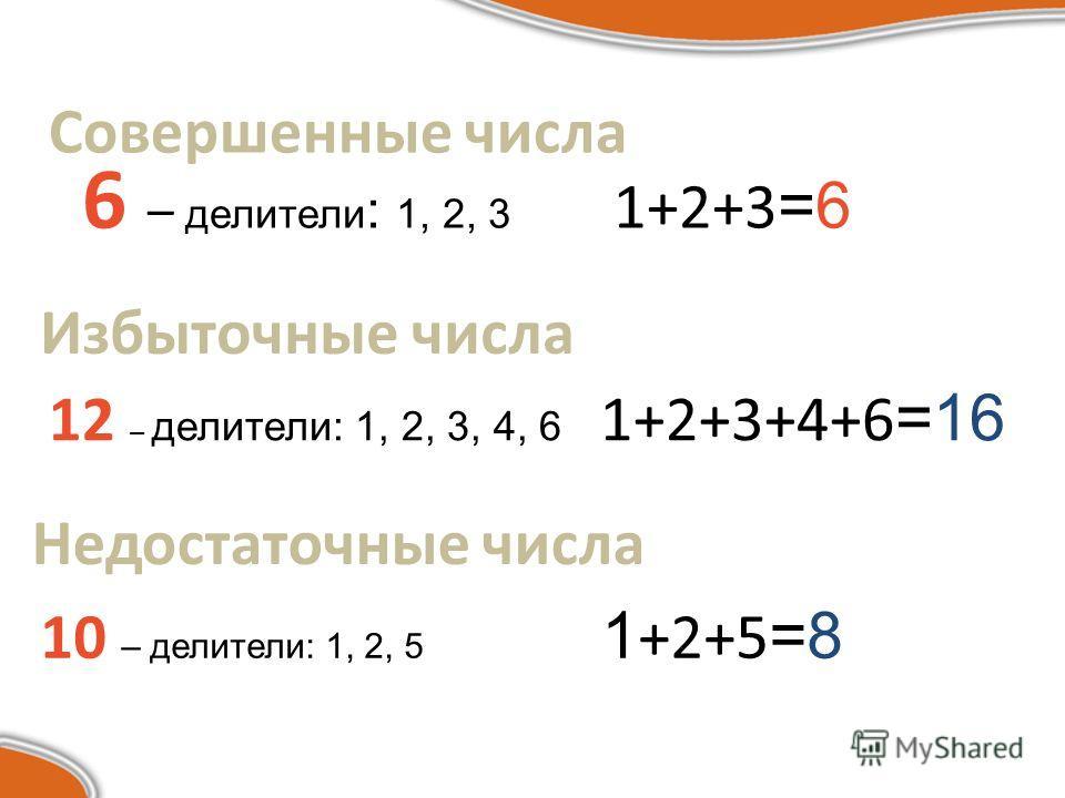 Совершенные числа 6 – делители : 1, 2, 3 1+2+3 =6 Избыточные числа 12 – делители: 1, 2, 3, 4, 6 1+2+3+4+6 =16 Недостаточные числа 10 – делители: 1, 2, 5 1 +2+5 =8