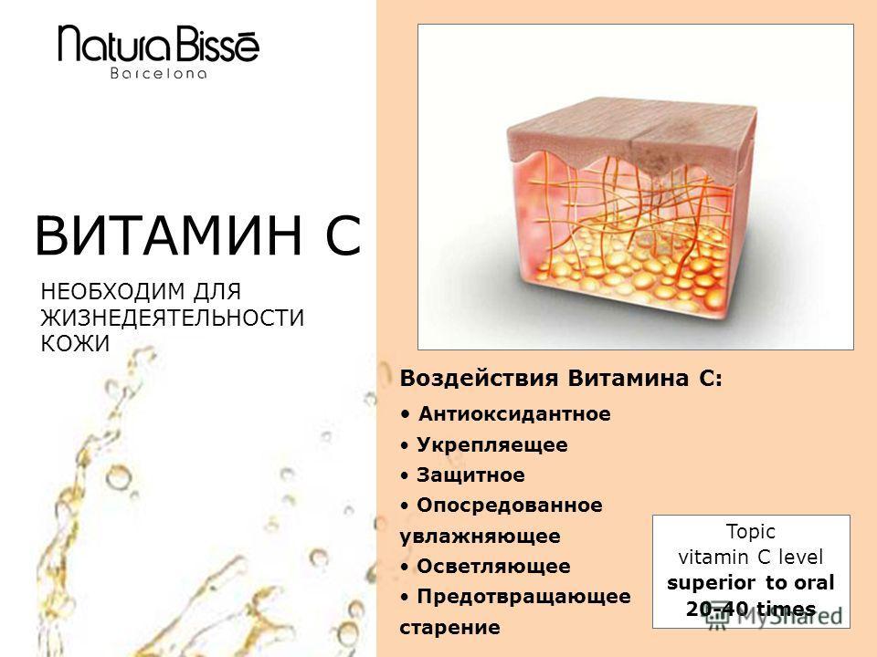 ВИТАМИН C НЕОБХОДИМ ДЛЯ ЖИЗНЕДЕЯТЕЛЬНОСТИ КОЖИ Воздействия Витамина С: Антиоксидантное Укрепляещее Защитное Опосредованное увлажняющее Осветляющее Предотвращающее старение Topic vitamin C level superior to oral 20-40 times