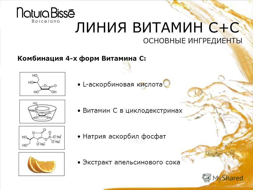 ЛИНИЯ ВИТАМИН C+C ОСНОВНЫЕ ИНГРЕДИЕНТЫ Комбинация 4-х форм Витамина С: L-аскорбиновая кислота Витамин С в циклодекстринах Натрия аскорбил фосфат Экстракт апельсинового сока