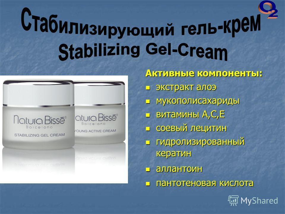 Активные компоненты: экстракт алоэ экстракт алоэ мукополисахариды мукополисахариды витамины А,С,Е витамины А,С,Е соевый лецитин соевый лецитин гидролизированный кератин гидролизированный кератин аллантоин аллантоин пантотеновая кислота пантотеновая к