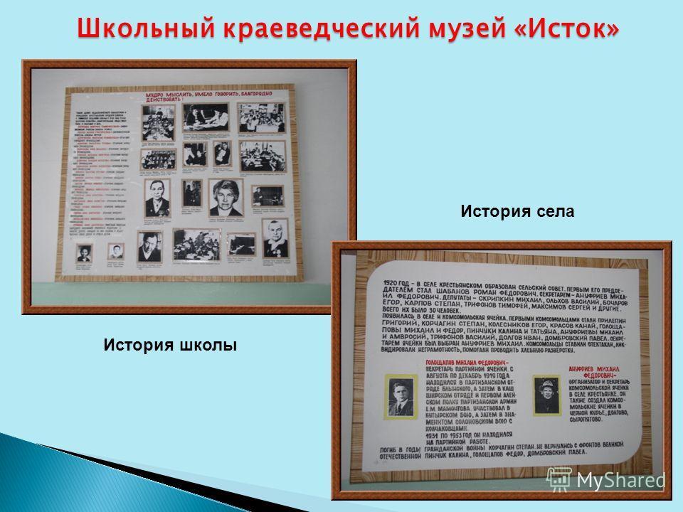 Школьный краеведческий музей «Исток» История школы История села