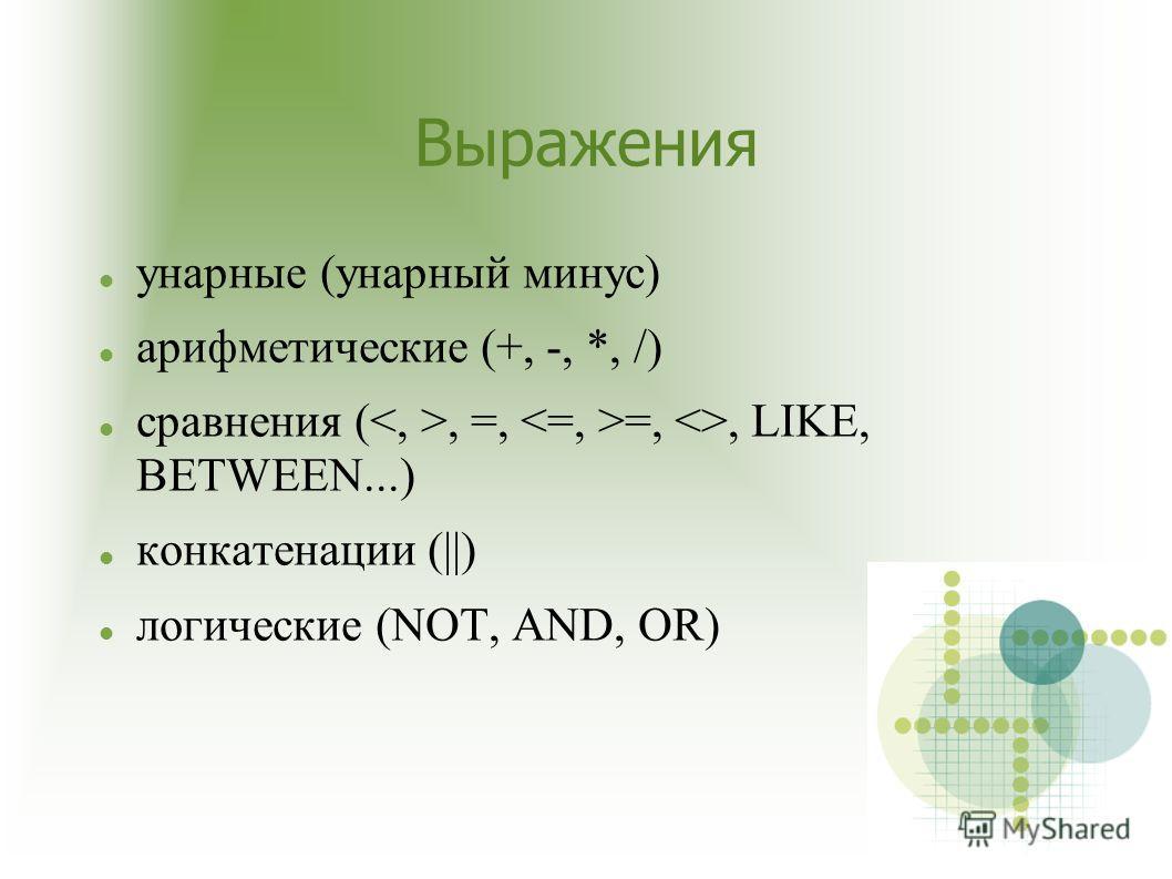Выражения унарные (унарный минус) арифметические (+, -, *, /) сравнения (, =, =, , LIKE, BETWEEN...) конкатенации (||) логические (NOT, AND, OR)