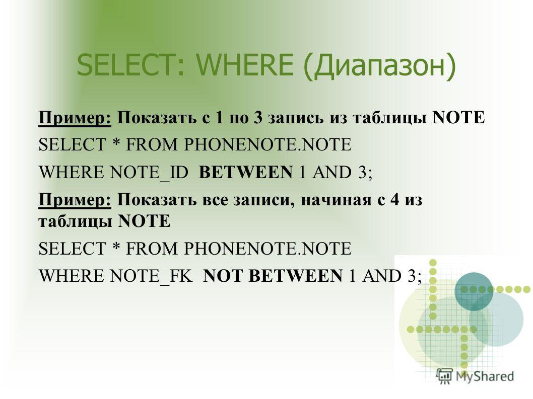 SELECT: WHERE (Диапазон) Пример: Показать с 1 по 3 запись из таблицы NOTE SELECT * FROM PHONENOTE.NOTE WHERE NOTE_ID BETWEEN 1 AND 3; Пример: Показать все записи, начиная с 4 из таблицы NOTE SELECT * FROM PHONENOTE.NOTE WHERE NOTE_FK NOT BETWEEN 1 AN