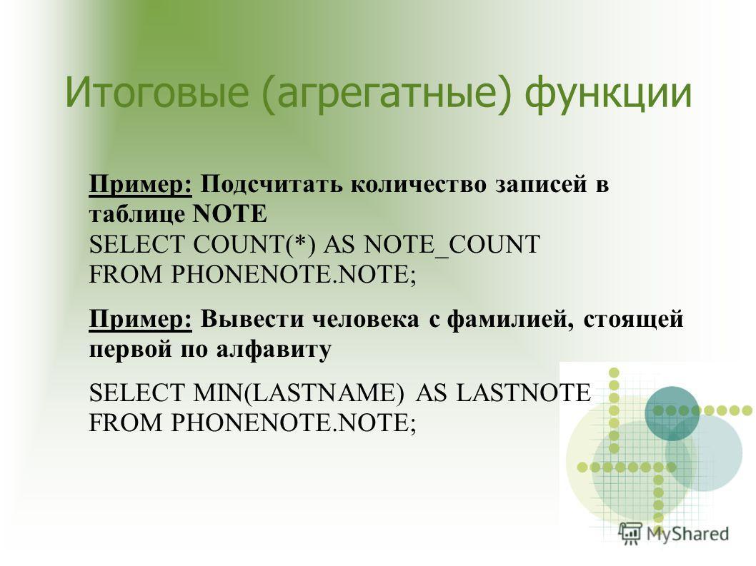 Итоговые (агрегатные) функции Пример: Подсчитать количество записей в таблице NOTE SELECT COUNT(*) AS NOTE_COUNT FROM PHONENOTE.NOTE; Пример: Вывести человека с фамилией, стоящей первой по алфавиту SELECT MIN(LASTNAME) AS LASTNOTE FROM PHONENOTE.NOTE
