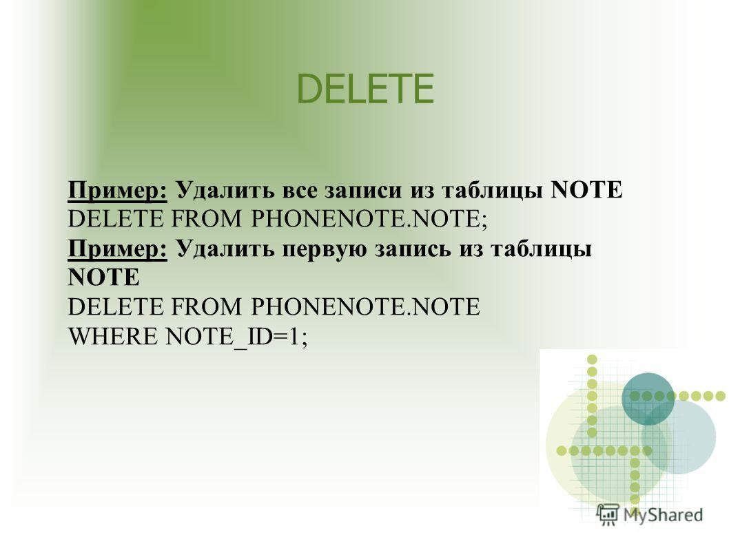 DELETE Пример: Удалить все записи из таблицы NOTE DELETE FROM PHONENOTE.NOTE; Пример: Удалить первую запись из таблицы NOTE DELETE FROM PHONENOTE.NOTE WHERE NOTE_ID=1;