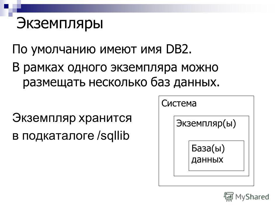 Экземпляры По умолчанию имеют имя DB2. В рамках одного экземпляра можно размещать несколько баз данных. Экземпляр хранится в подкаталоге /sqllib Система Экземпляр(ы) База(ы) данных