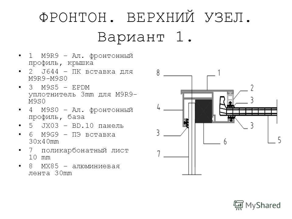 ФРОНТОН. ВЕРХНИЙ УЗЕЛ. Вариант 1. 1 M9R9 – Ал. фронтонный профиль, крышка 2 J644 – ПК вставка для M9R9-M9S0 3 M9S5 – EPDM уплотнитель 3mm для M9R9- M9S0 4 M9S0 – Ал. фронтонный профиль, база 5 JX03 – BD.10 панель 6 M9G9 – ПЭ вставка 30x40mm 7 поликар