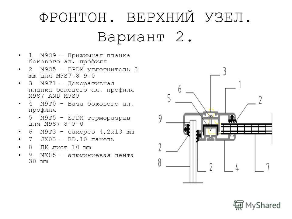 ФРОНТОН. ВЕРХНИЙ УЗЕЛ. Вариант 2. 1 M9S9 – Прижимная планка бокового ал. профиля 2 M9S5 – EPDM уплотнитель 3 mm для M9S7-8-9-0 3 M9T1 – Декоративная планка бокового ал. профиля M9S7 AND M9S9 4 M9T0 – База бокового ал. профиля 5 M9T5 – EPDM терморазры