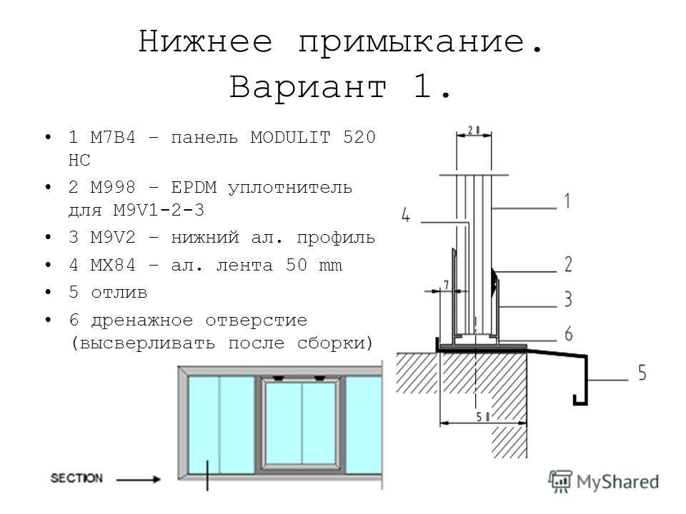 Нижнее примыкание. Вариант 1. 1 M7B4 – панель MODULIT 520 HC 2 M998 – EPDM уплотнитель для M9V1-2-3 3 M9V2 – нижний ал. профиль 4 MX84 – ал. лента 50 mm 5 отлив 6 дренажное отверстие (высверливать после сборки)