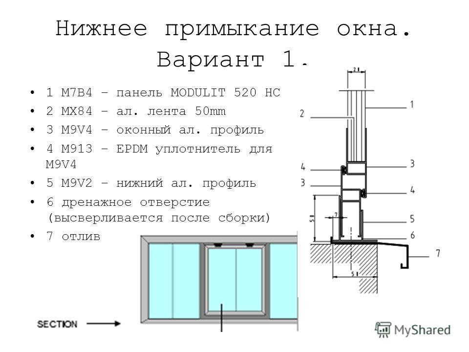 Нижнее примыкание окна. Вариант 1. 1 M7B4 – панель MODULIT 520 HC 2 MX84 – ал. лента 50mm 3 M9V4 – оконный ал. профиль 4 M913 – EPDM уплотнитель для M9V4 5 M9V2 – нижний ал. профиль 6 дренажное отверстие (высверливается после сборки) 7 отлив