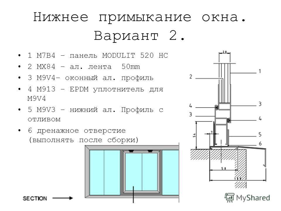 Нижнее примыкание окна. Вариант 2. 1 M7B4 – панель MODULIT 520 HC 2 MX84 – ал. лента 50mm 3 M9V4– оконный ал. профиль 4 M913 – EPDM уплотнитель для M9V4 5 M9V3 – нижний ал. Профиль с отливом 6 дренажное отверстие (выполнять после сборки)