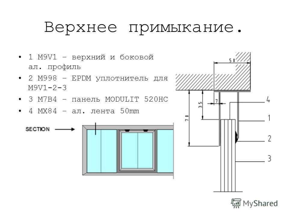Верхнее примыкание. 1 M9V1 – верхний и боковой ал. профиль 2 M998 – EPDM уплотнитель для M9V1-2-3 3 M7B4 – панель MODULIT 520HC 4 MX84 – ал. лента 50mm