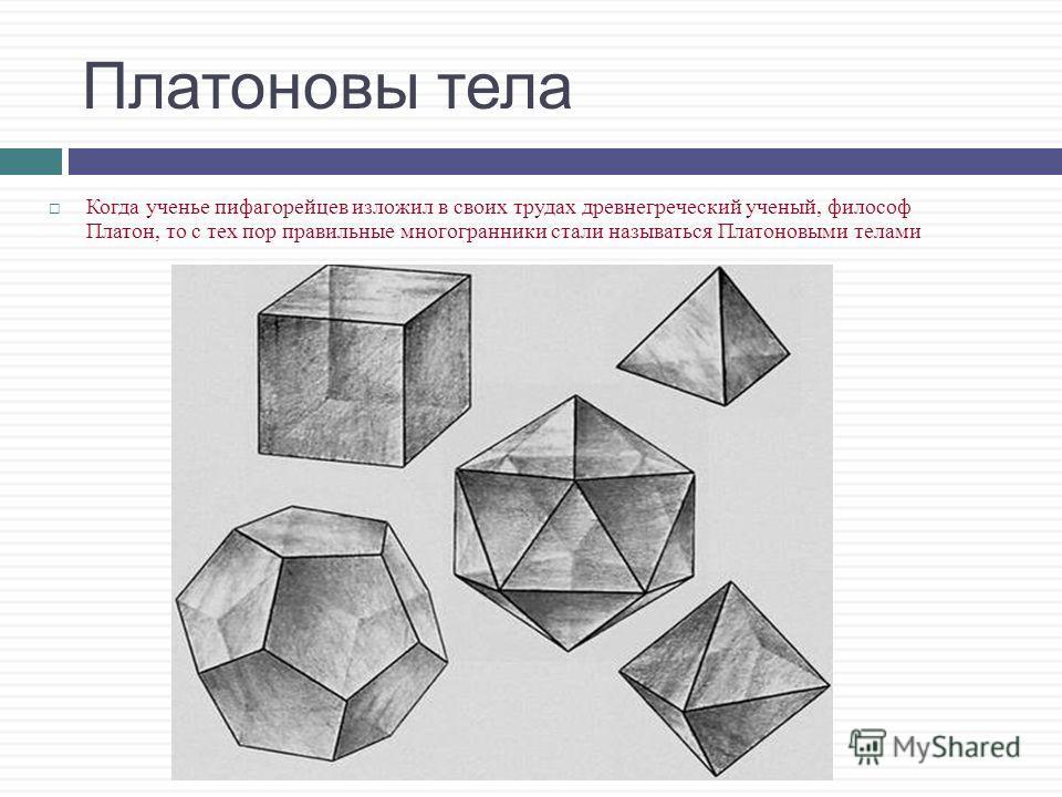 тетраэдр додекаэдр (куб –гексаэдр) октаэдр икосаэдр Виды правильных многогранников